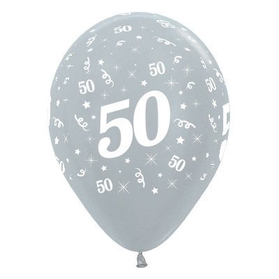 6 Pack Age 50 Balloons - Satin Pearl Silver