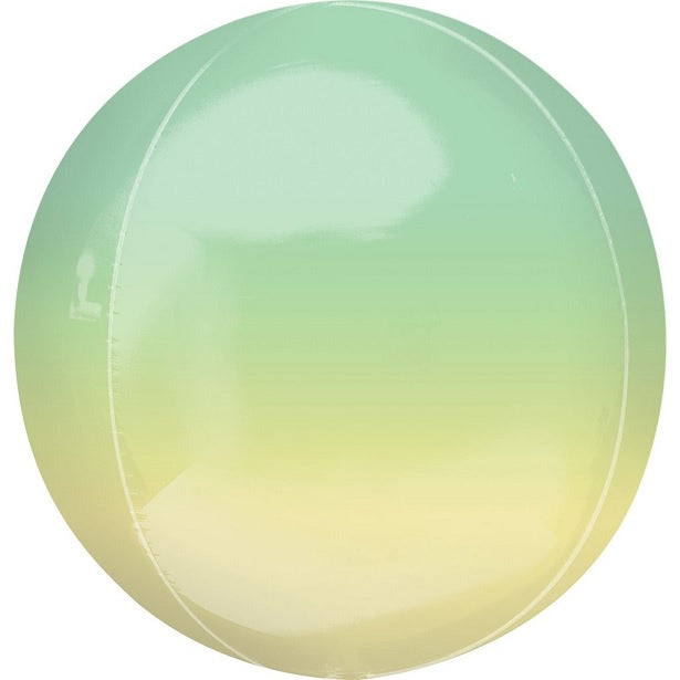 Ombre Yellow Green Orbz Foil Balloon