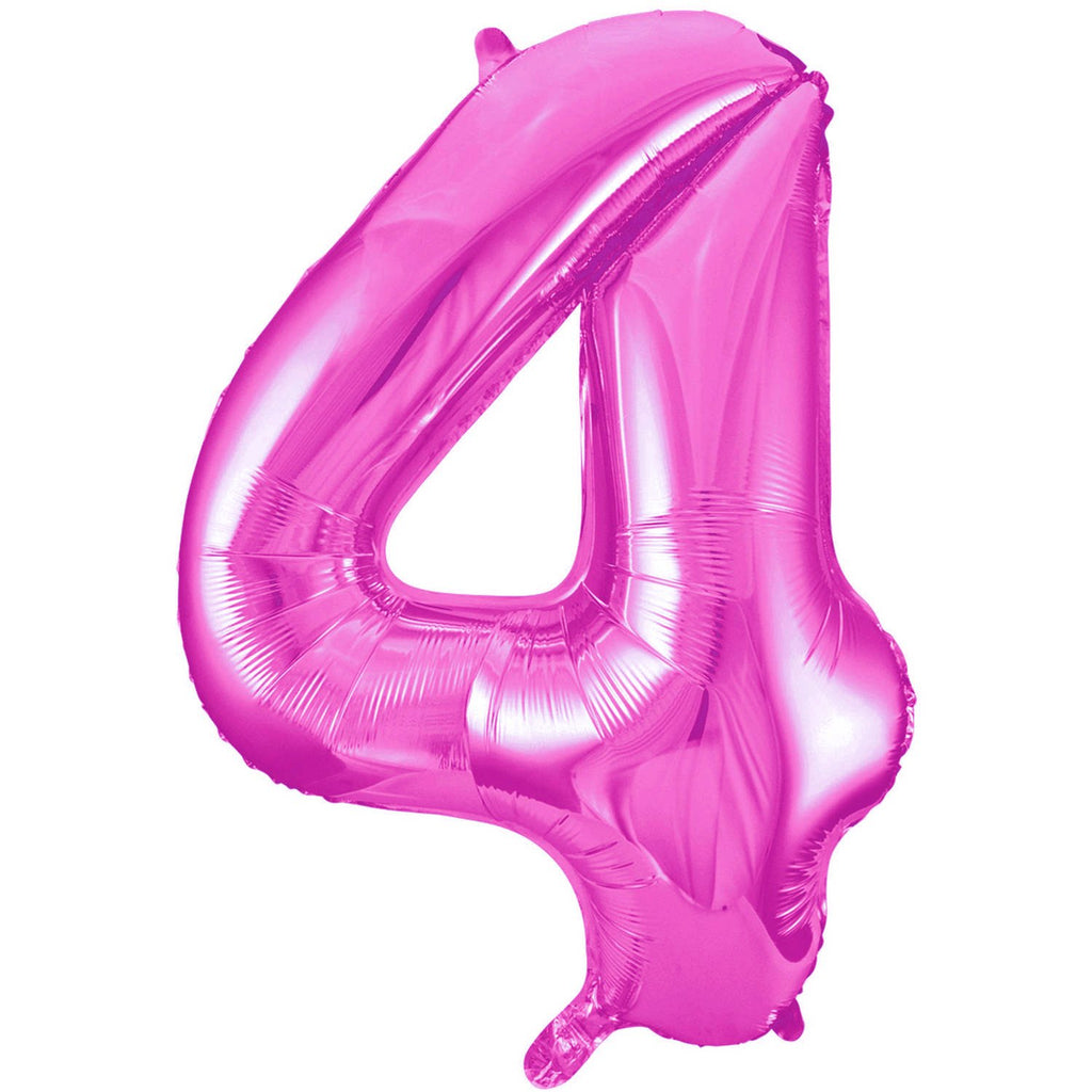 Giant Hot Pink Number Foil Balloon - 4