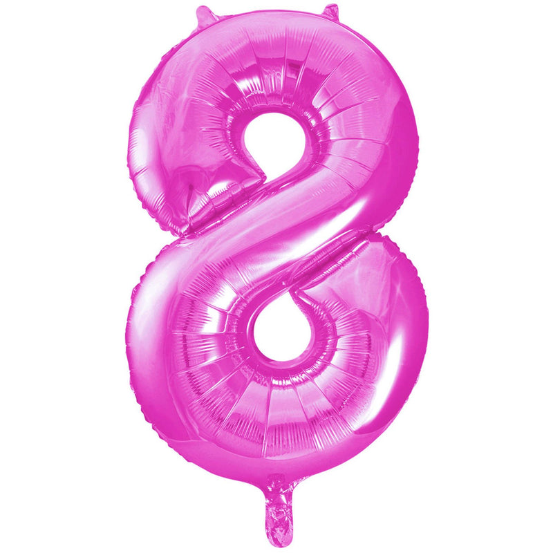 Giant Hot Pink Number Foil Balloon - 8