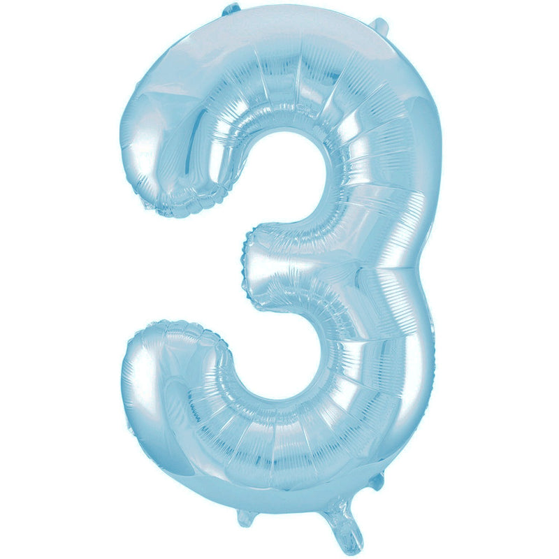 Giant Powder Blue Number Foil Balloon - 3