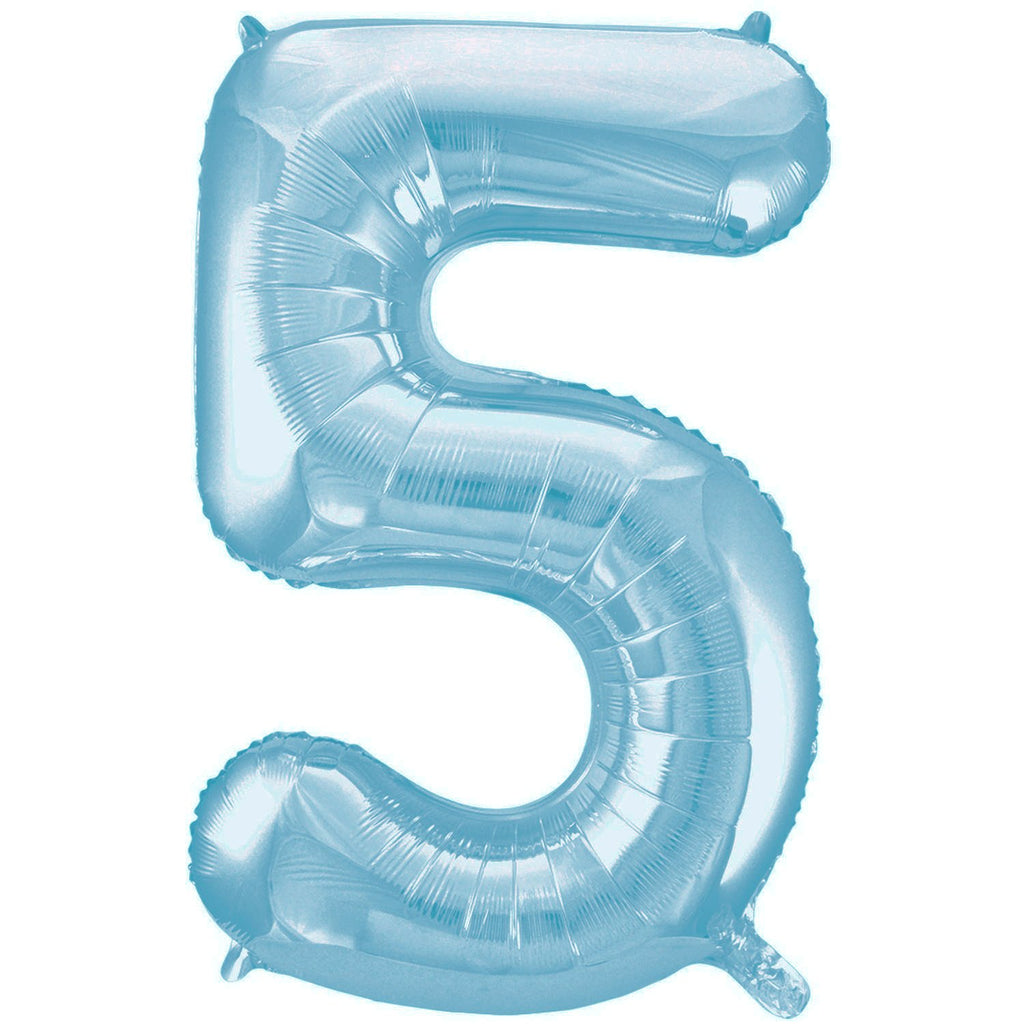 Giant Powder Blue Number Foil Balloon - 5