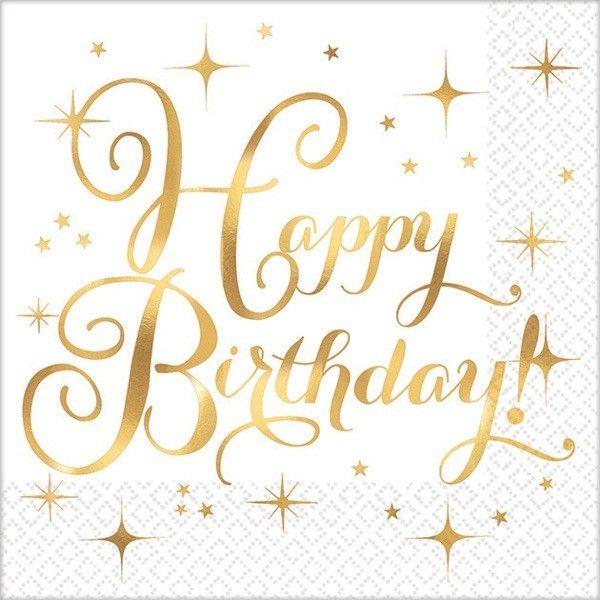 Happy Birthday Gold Foil Stamped Napkins - Beverage