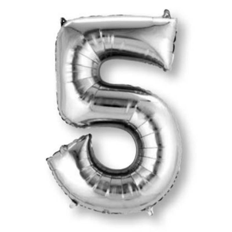 Anagram Silver Jumbo Number Foil Balloon - 5