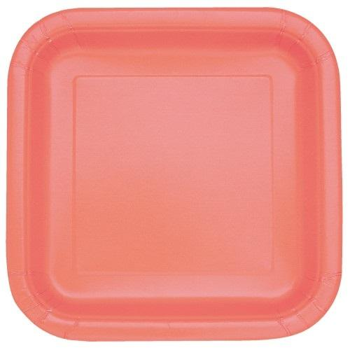 16 Coral Square Plates - Lunch