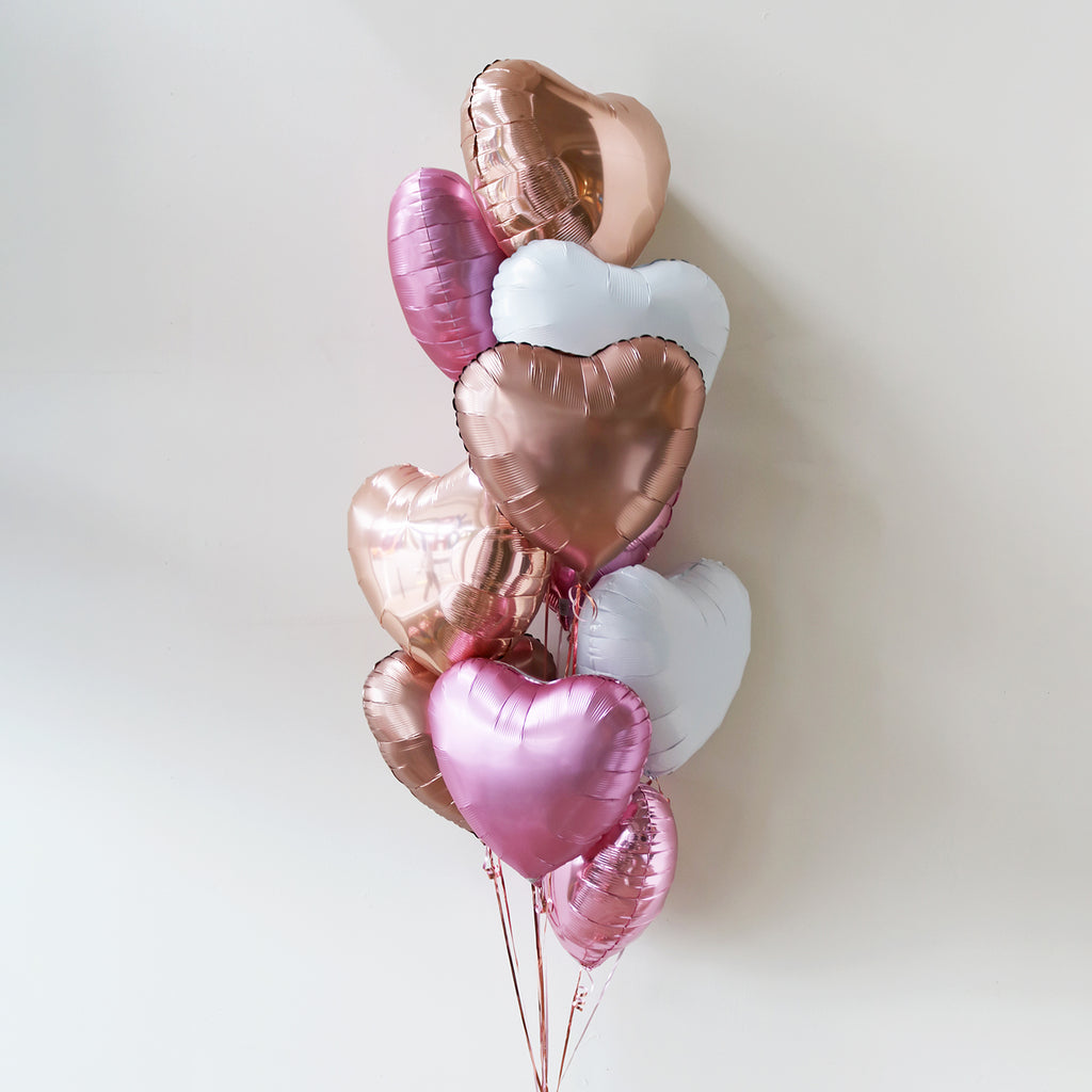 Rose Gold Blush Heart Foil Bouquet
