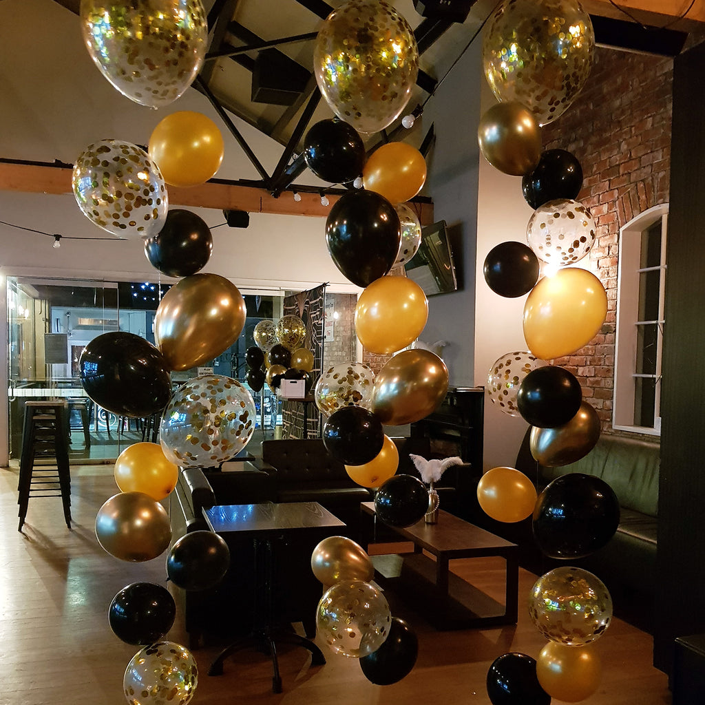 Gold & Black Raindrop Balloon Bouquet