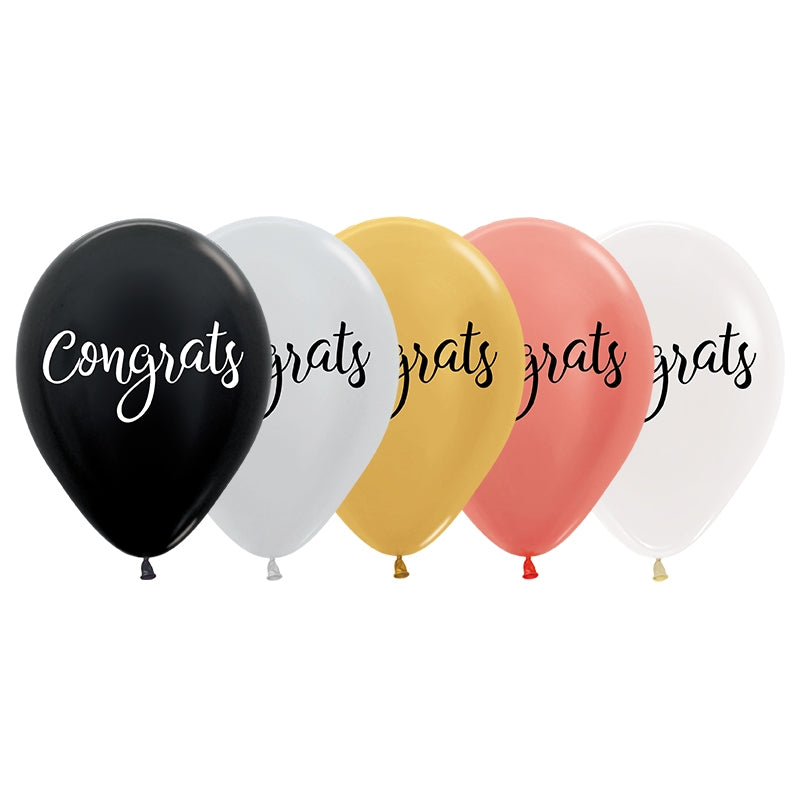 Metallic Congrats Script Balloon