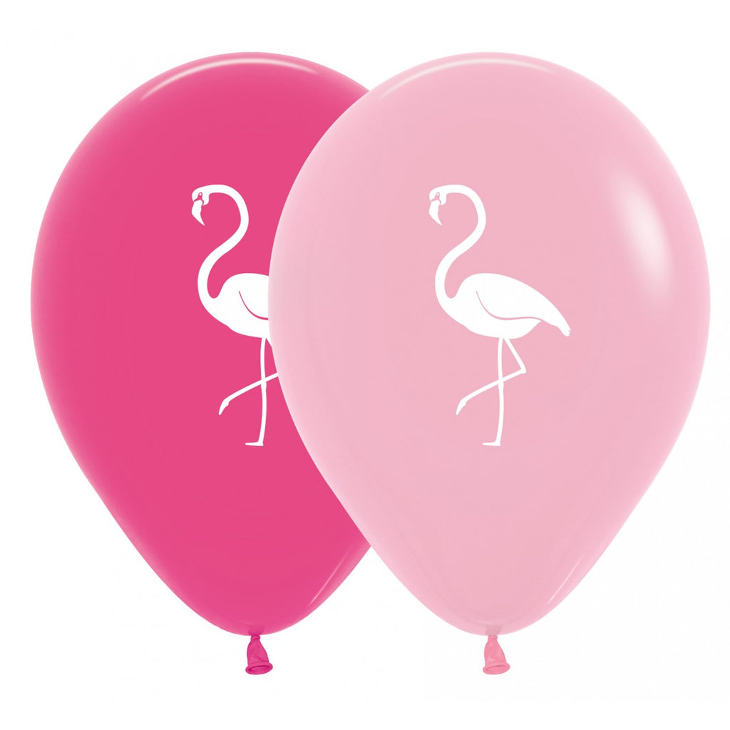 Pack of 12 Latex Balloons - Flamingo