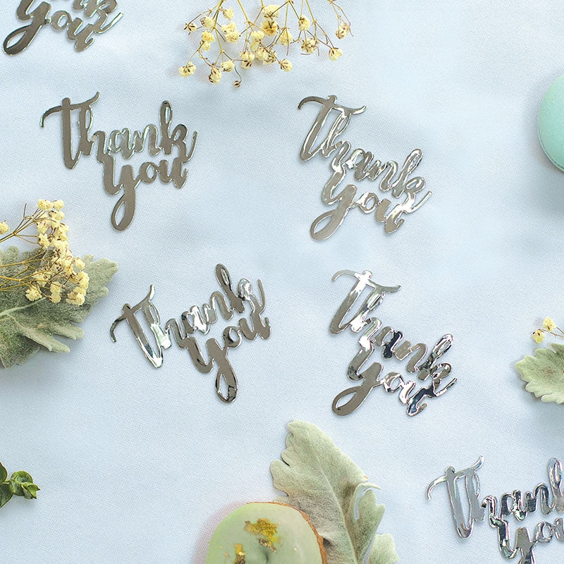 Silver Jumbo Confetti - Thank You