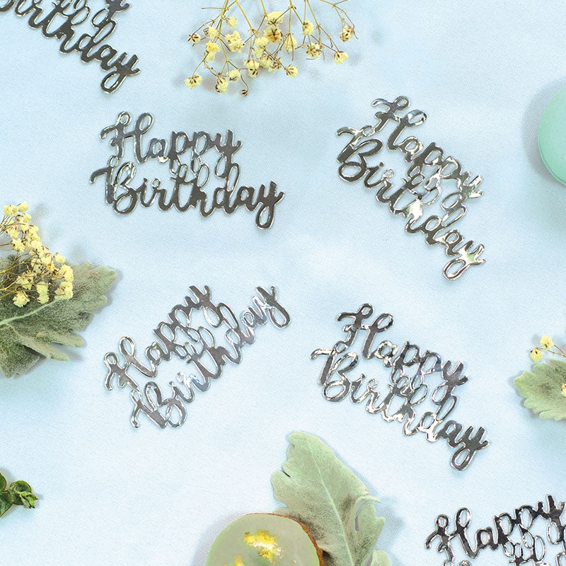 Silver Jumbo Confetti - Happy Birthday