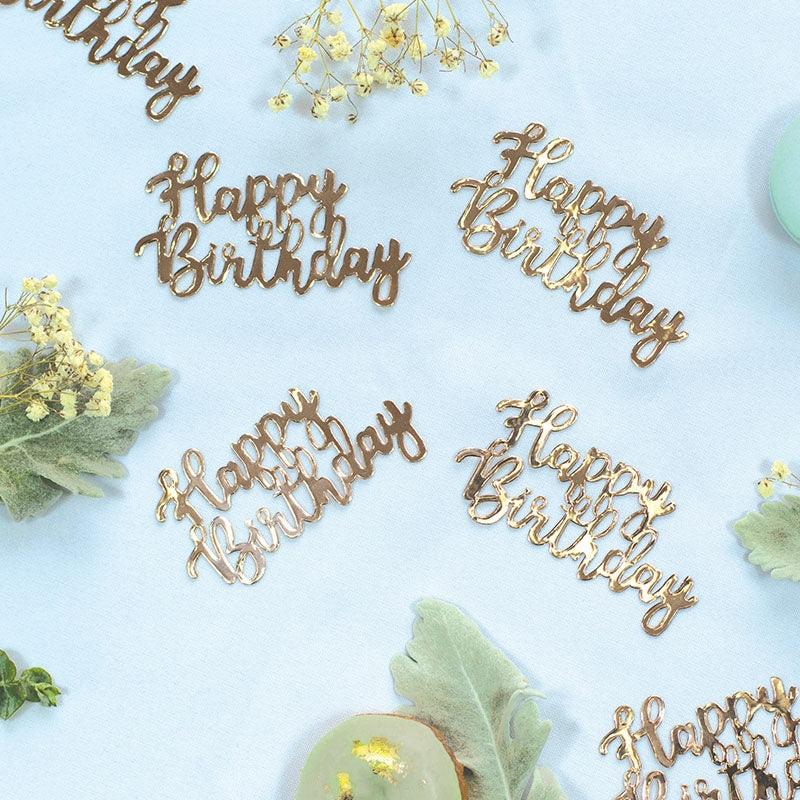 Rose Gold Jumbo Confetti - Happy Birthday
