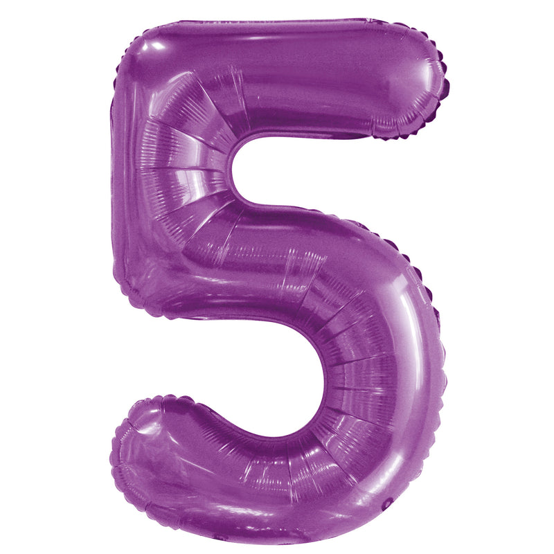Giant Pretty Purple Number Foil Balloon - 5