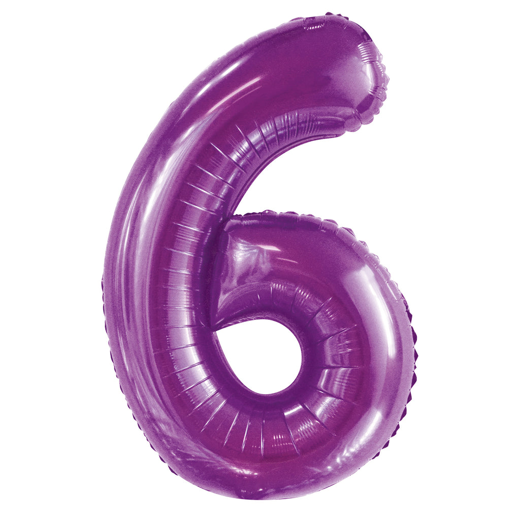 Giant Pretty Purple Number Foil Balloon - 6