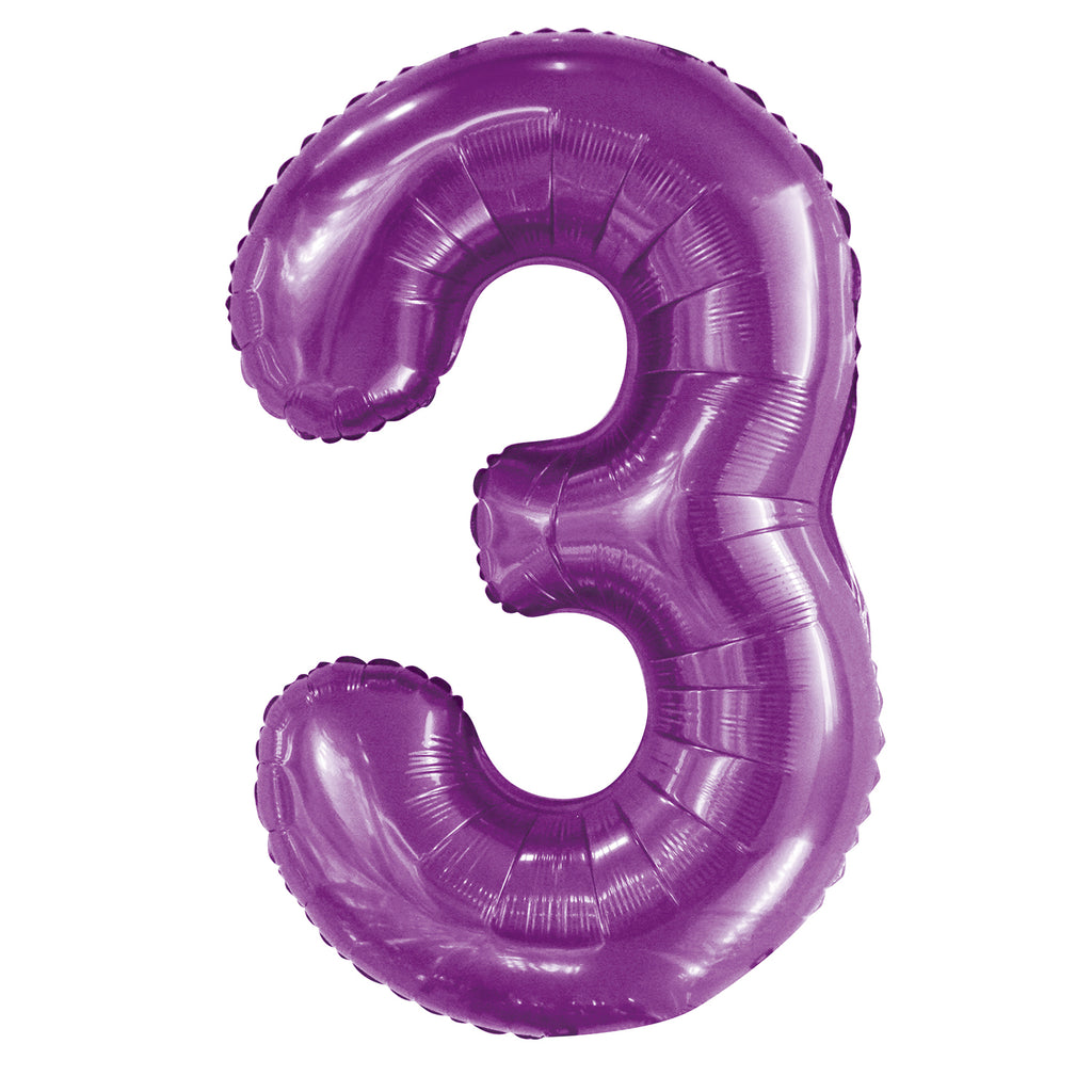 Giant Pretty Purple Number Foil Balloon - 3
