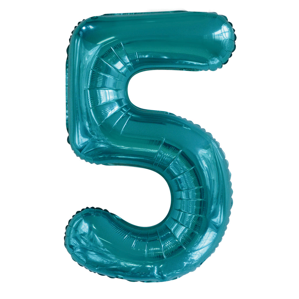 Giant Caribbean Teal Number Foil Balloon - 5