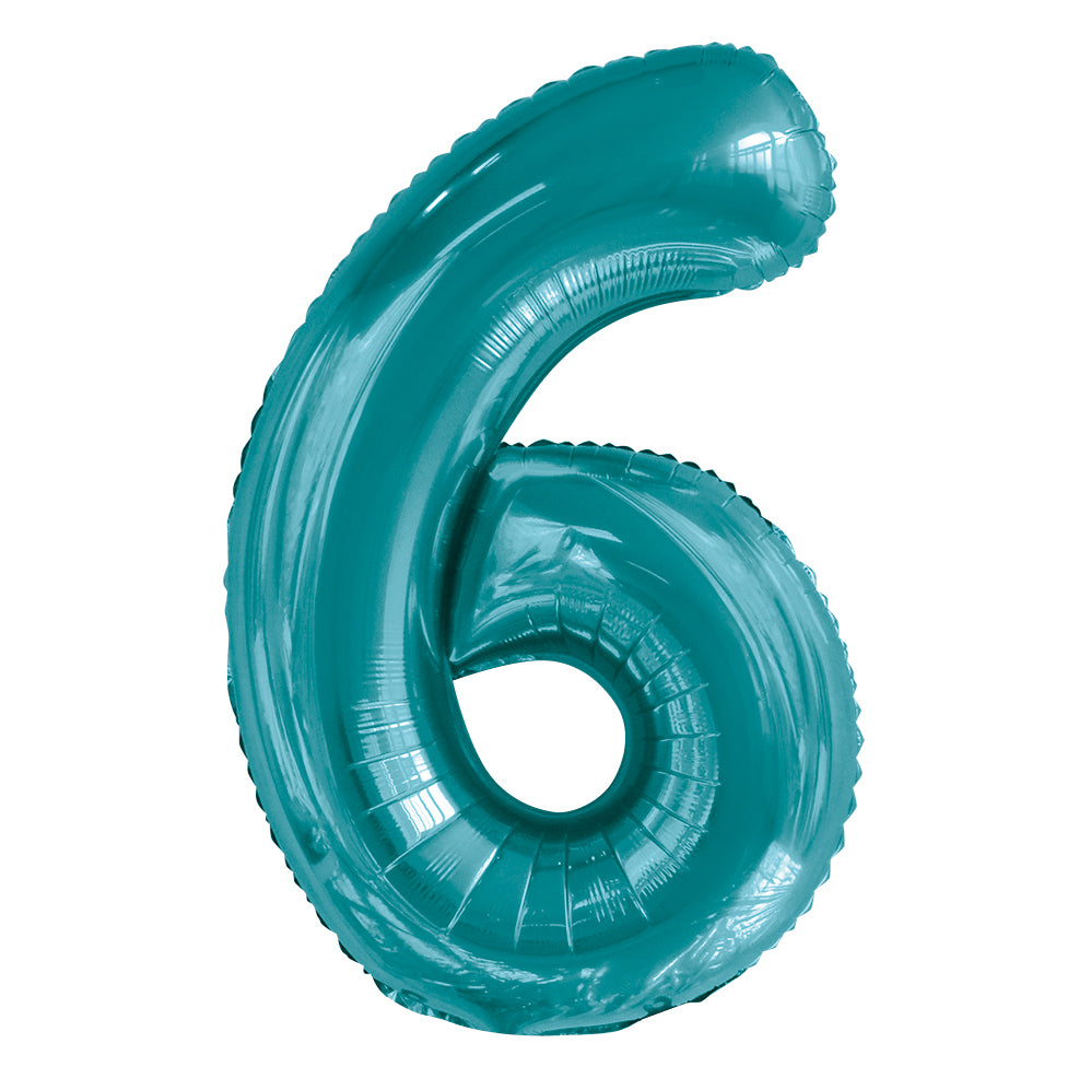 Giant Caribbean Teal Number Foil Balloon - 6
