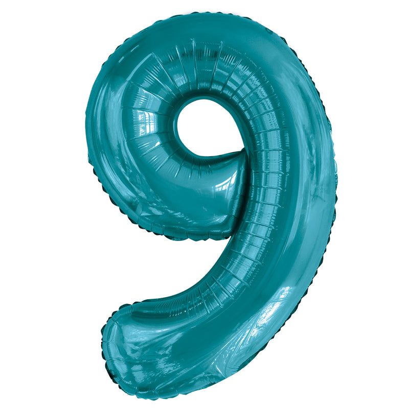 Giant Caribbean Teal Number Foil Balloon - 9