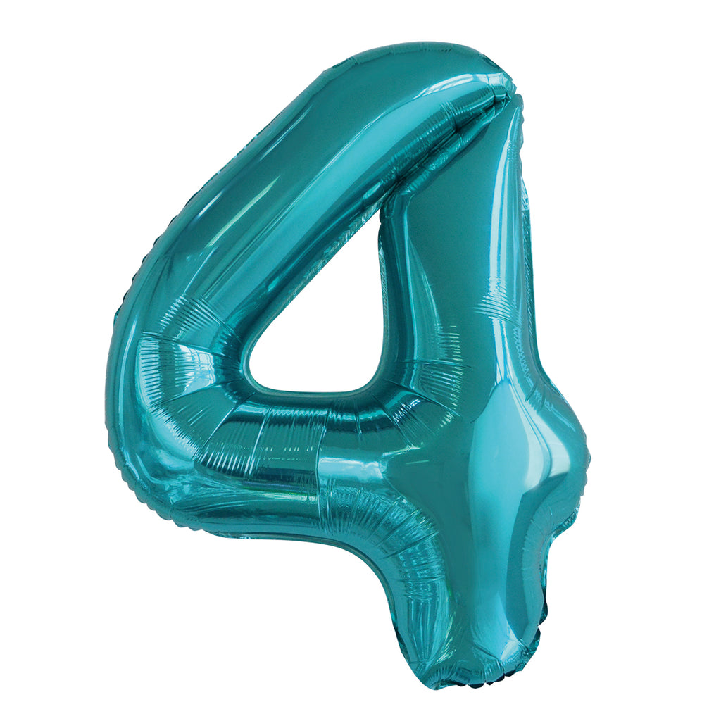 Giant Caribbean Teal Number Foil Balloon - 4