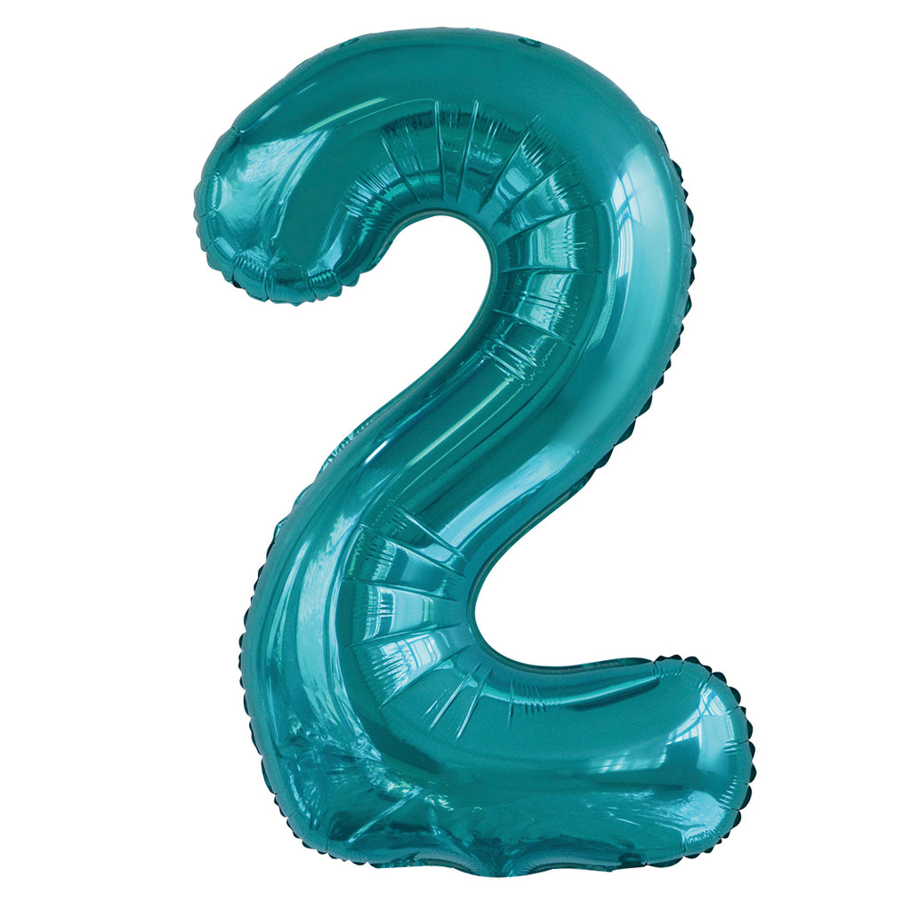 Giant Caribbean Teal Number Foil Balloon - 2