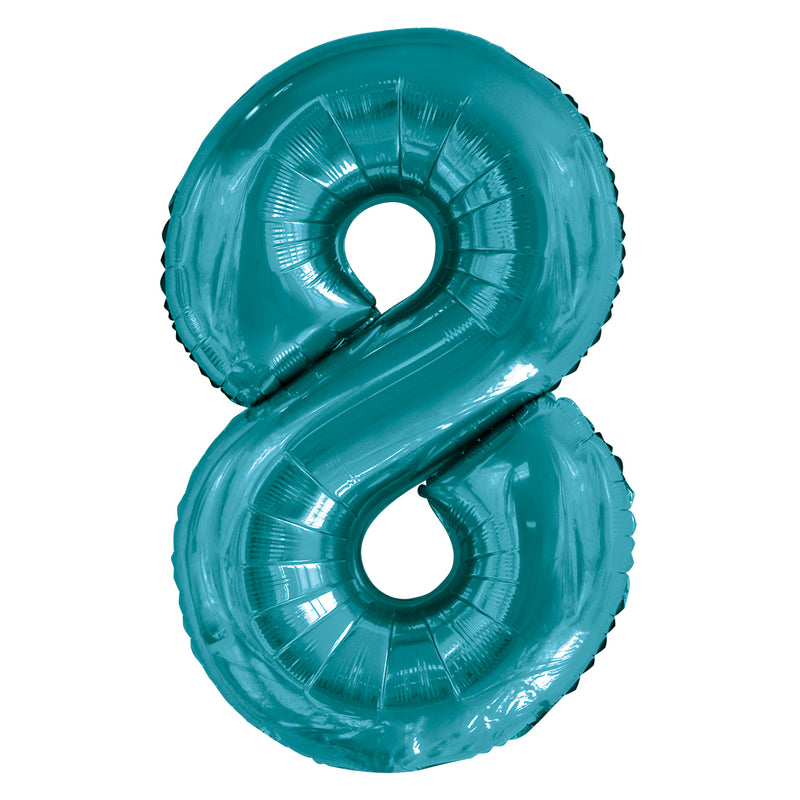 Giant Caribbean Teal Number Foil Balloon - 8