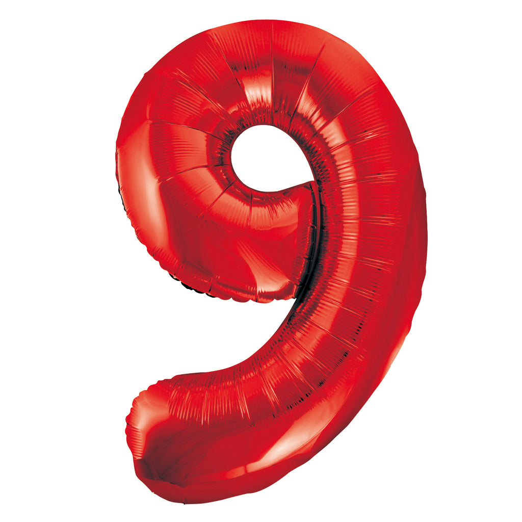 Giant Red Number Foil Balloon - 9