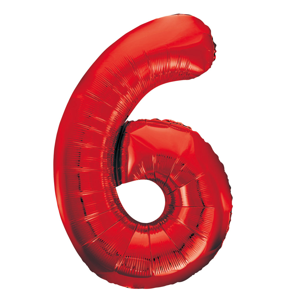 Giant Red Number Foil Balloon - 6