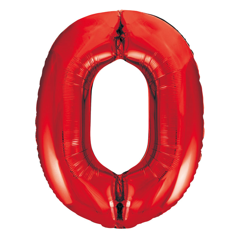 Giant Red Number Foil Balloon - 0