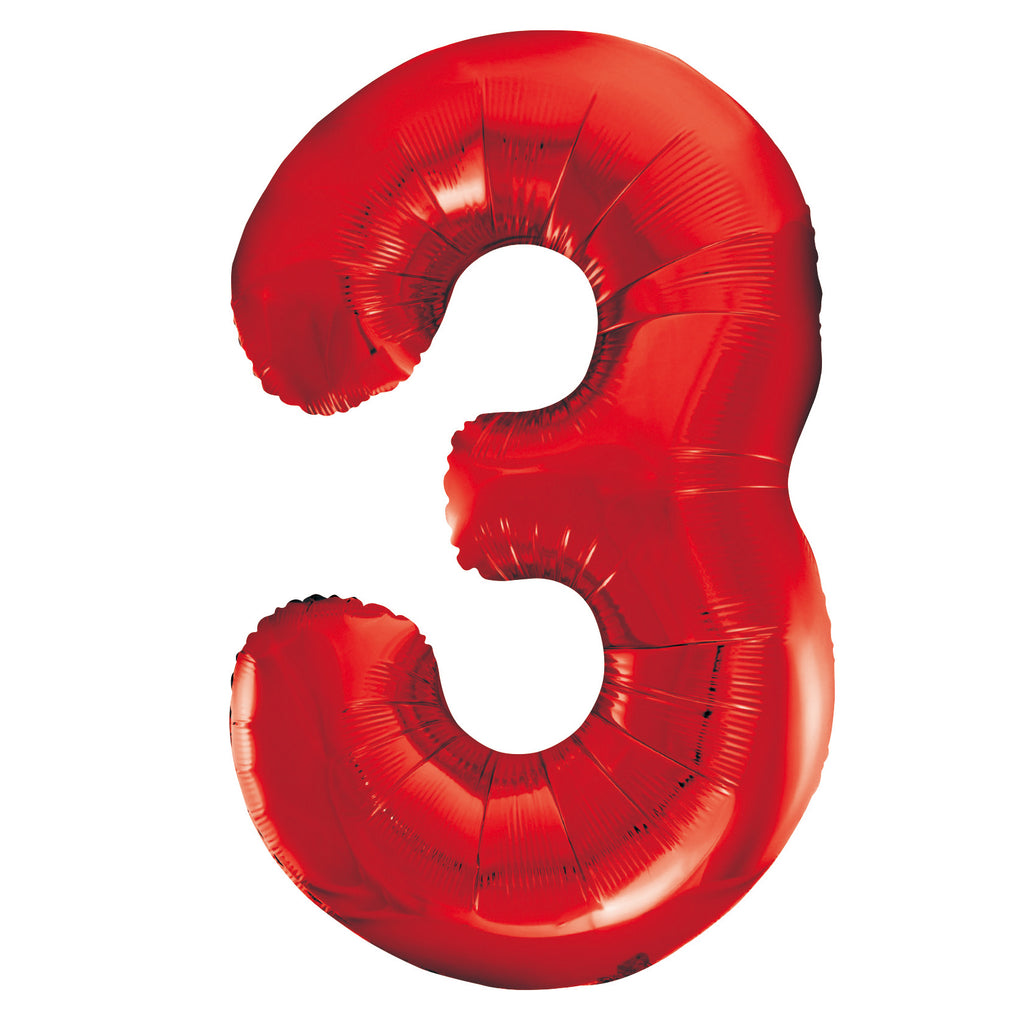 Giant Red Number Foil Balloon - 3