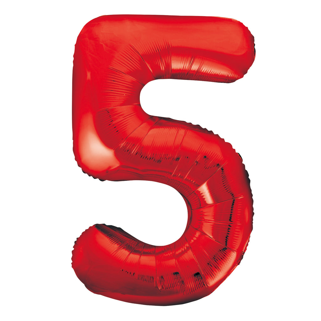 Giant Red Number Foil Balloon - 5