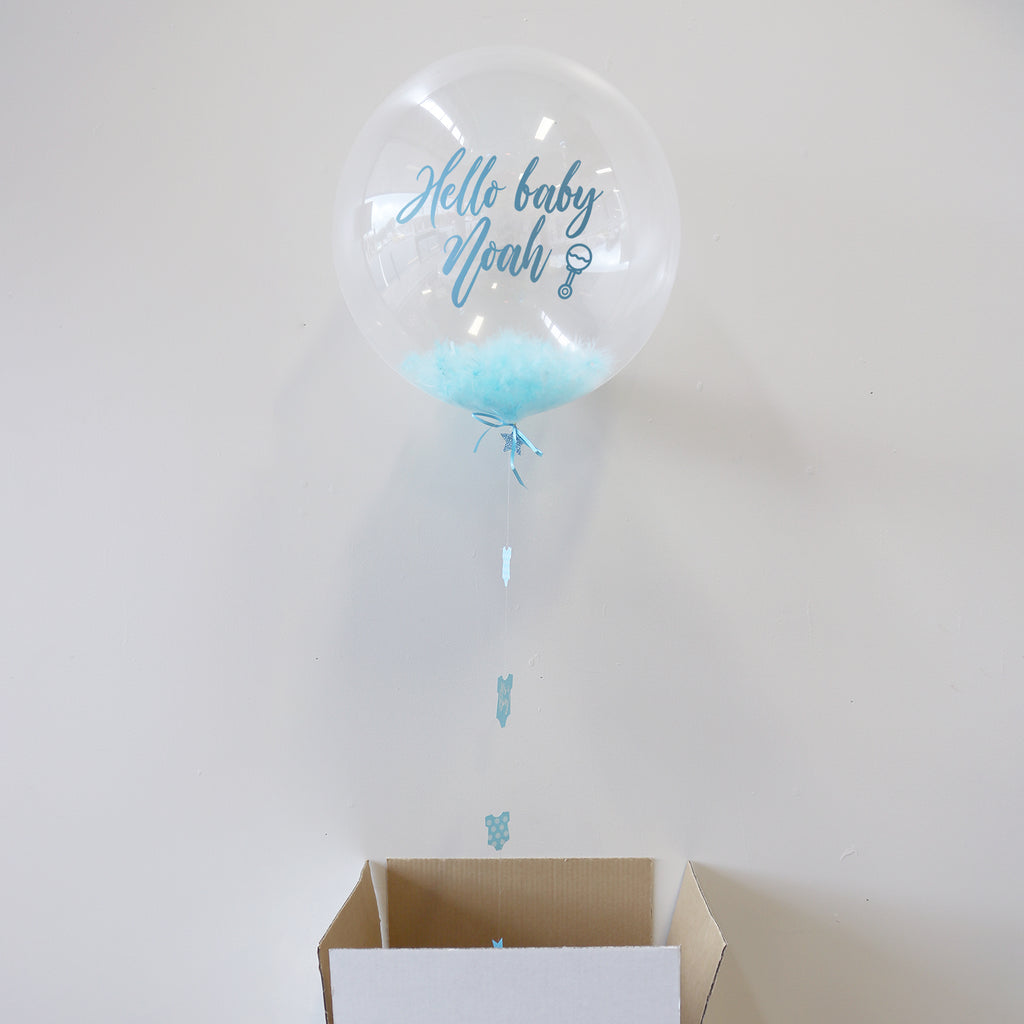 Blue Personalised New Baby Bubble Balloon