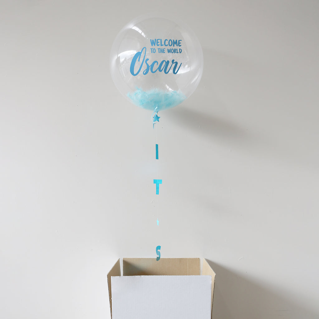 Blue Personalised Welcome to the World Bubble Balloon