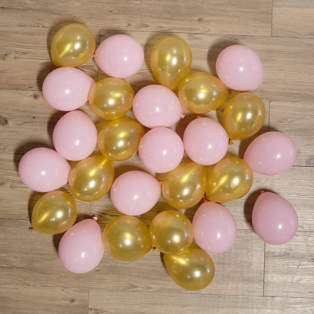 Pack of 25 Mini Balloons - Baby Pink and Gold