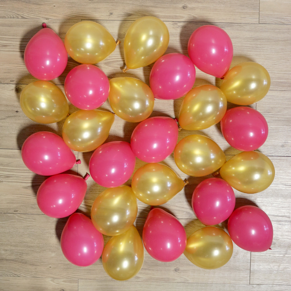 Pack of 25 Mini Balloons - Wildberry and Gold