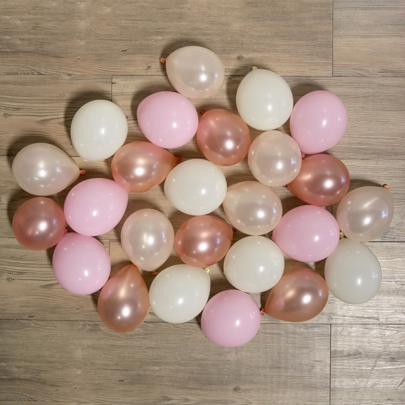 Pack of 25 Mini Balloons - Rose Gold Blush