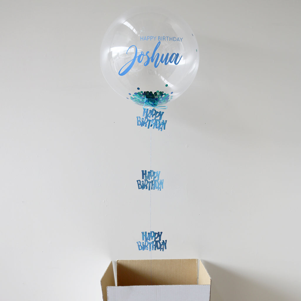 Blue Personalised Happy Birthday Bubble Balloon