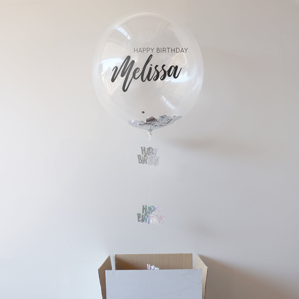 Silver Personalised Happy Birthday Bubble Balloon