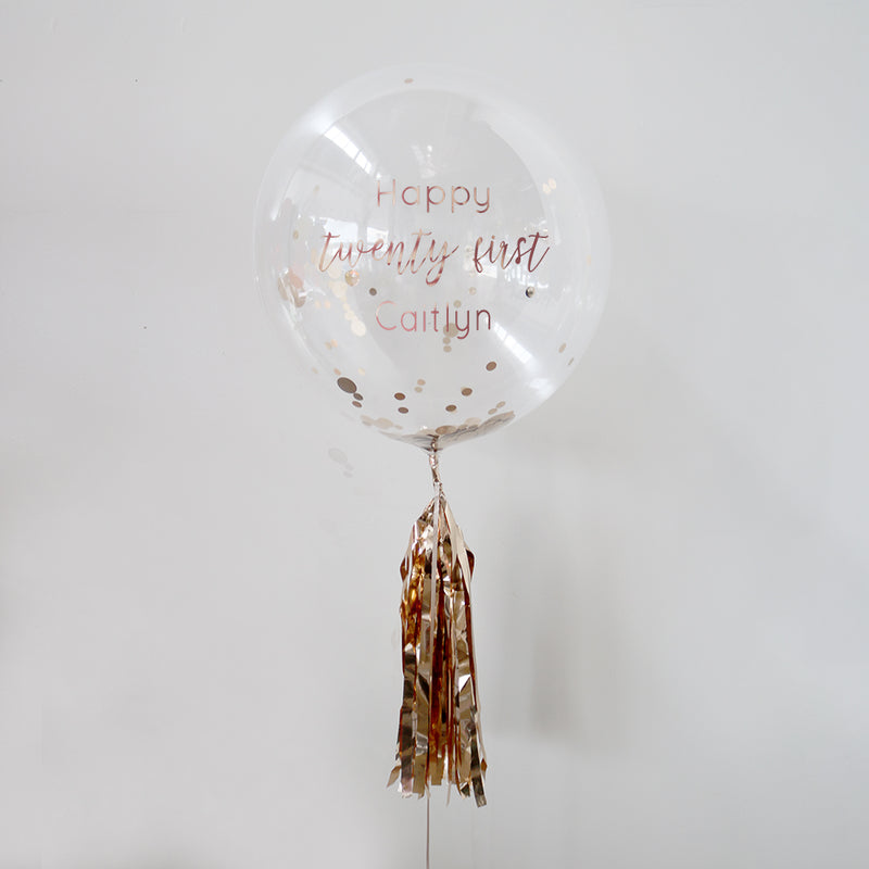 Personalised Rose Gold Happy 21st Bubble Balloon
