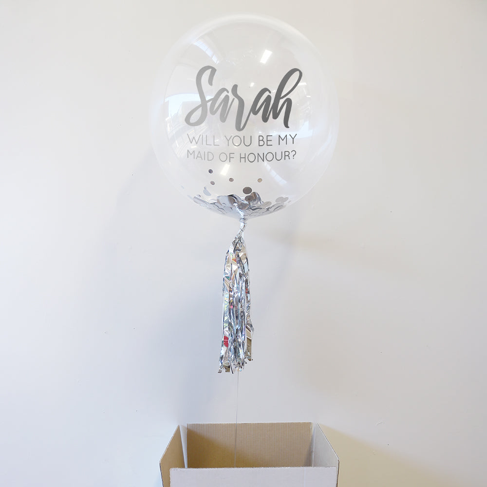 Personalised Be My Maid of Honour Bubble Balloon