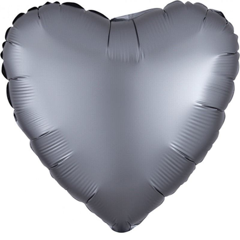 Satin Luxe Graphite Heart Foil Balloon