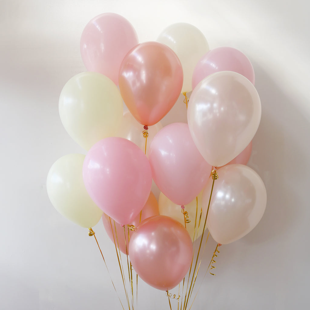 Pack of 15 Latex Balloons - Rose Gold Blush
