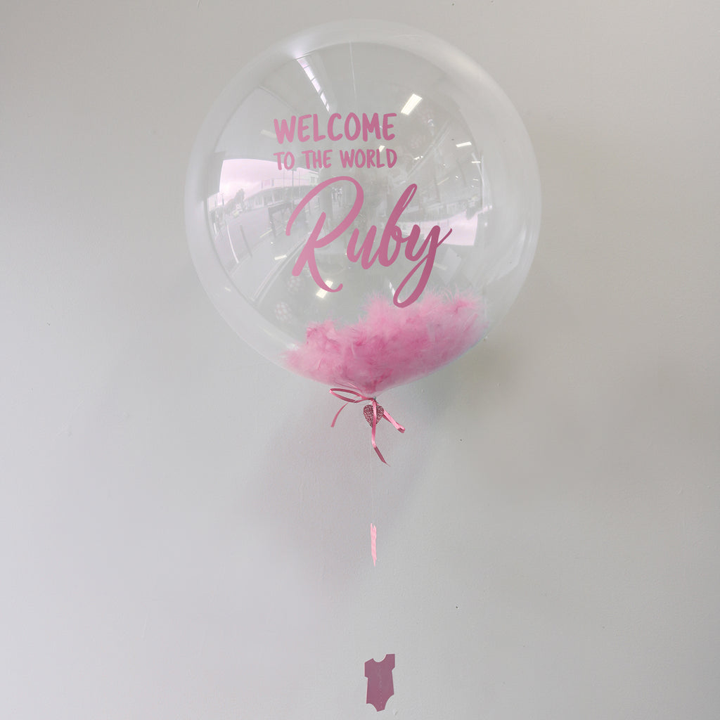 Pink Personalised Welcome to the World Bubble Balloon