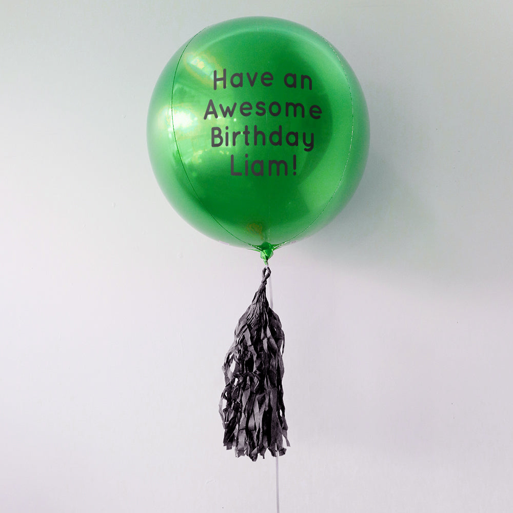 Green Happy Birthday Personalised Orbz Balloon