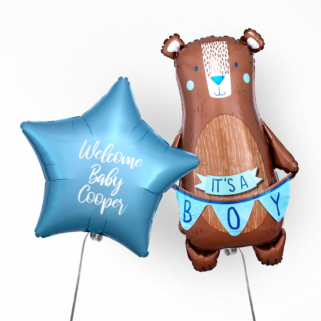 Welcome Baby Boy Personalised Foil Duo