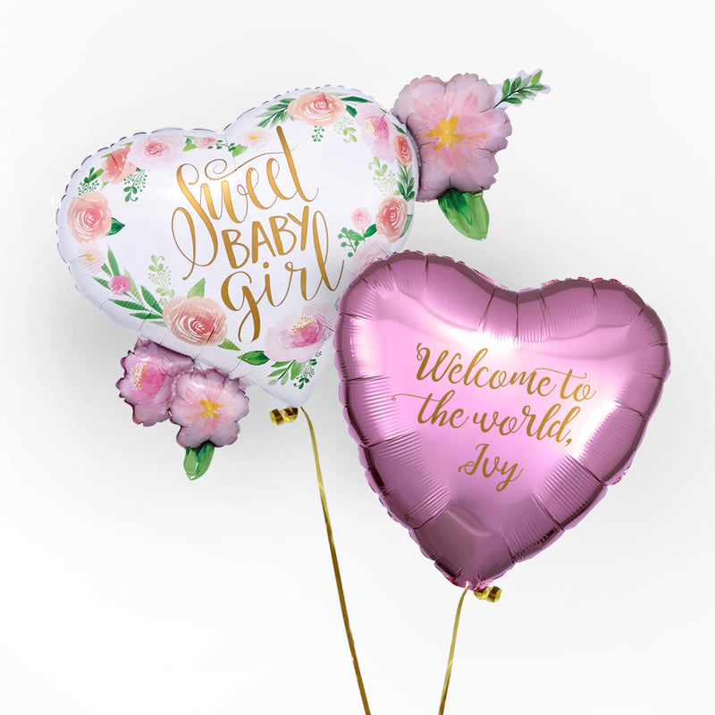 Welcome Baby Girl Personalised Foil Duo