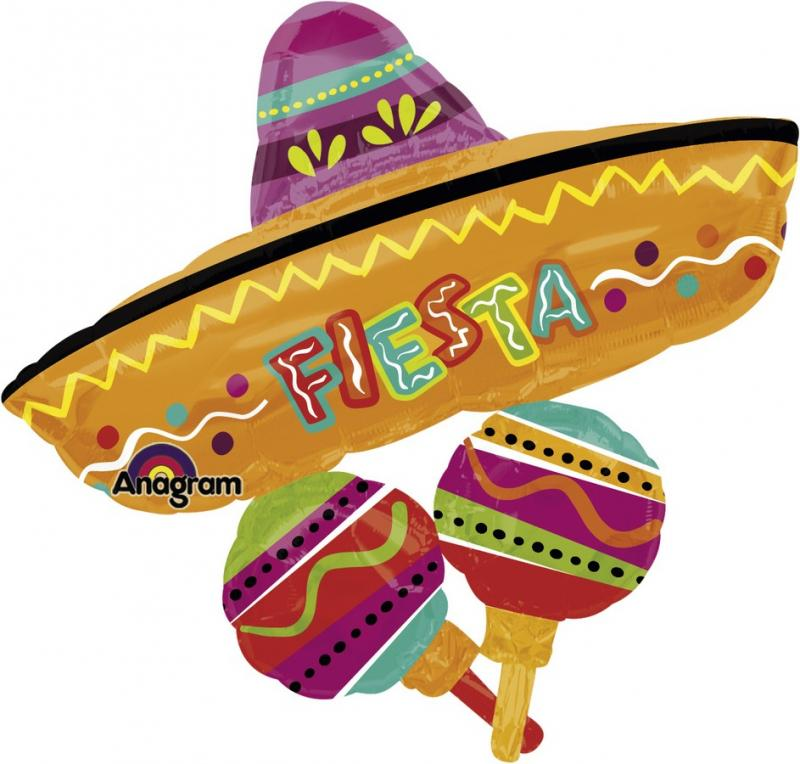 Creative Converting | Fiesta Fun Sombrero Supershape Foil Balloon | Fiesta Party Theme & Supplies |
