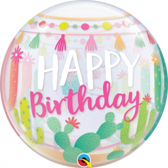 Qualatex | Llama Happy Birthday Bubble Balloon | Llama Party Theme and Supplies