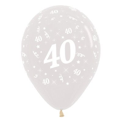 6 Pack Age 40 Balloons - Crystal Clear
