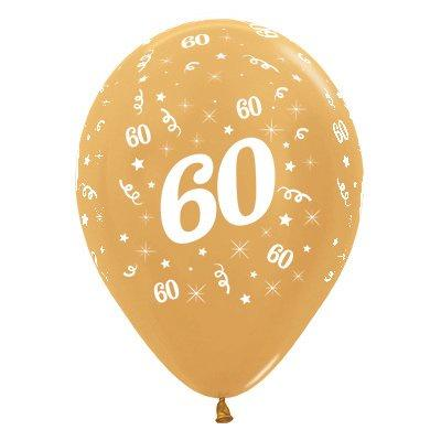 6 Pack Age 60 Balloons - Metallic Gold