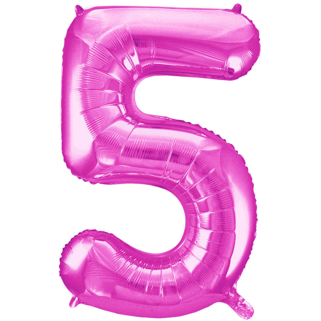 Giant Hot Pink Number Foil Balloon - 5